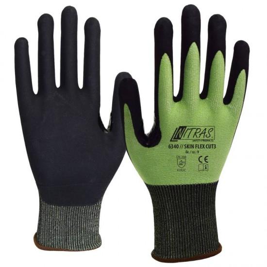 Γάντια προστασίας κοπής SKIN FLEX CUT3 GREEN/BLACK COAT 6340