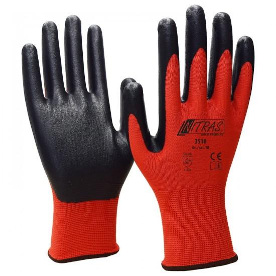 Γάντια νάυλον νιτριλίου κόκκινα Nitrile Foam 3510