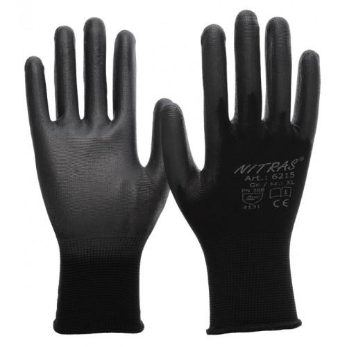 Γάντια νάυλον black pu coated 6215