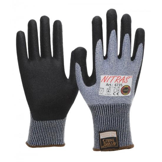 Γάντια προστασίας κοπής ΤΑΕΚΙ  μπλε με nitrile foam 6735