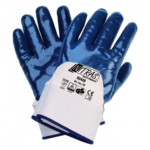 Γάντια νιτριλίου, με επίστρωση 3/4, μπλε 03430