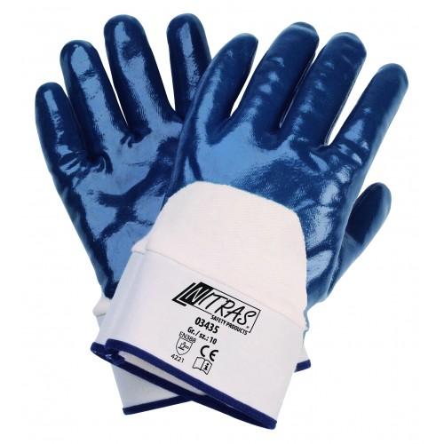 Γάντια νιτριλίου μπλε με μανσέτα από καμβά 03435