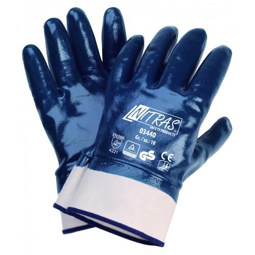 Γάντια νιτριλίου με πλήρη επένδυση, μπλέ NBR 03440