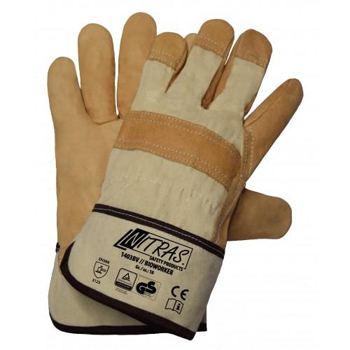 Γάντια δερματοπάνινα διπλής ραφής BIOWORKER 1403BV