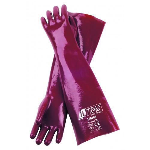 Γάντια PVC κόκκινα με πλήρη επένδυση 40cm 160240