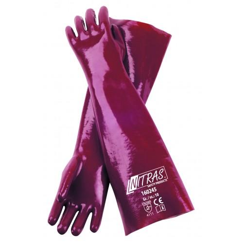 Γάντια PVC κόκκινα με πλήρη επένδυση 45cm 160245
