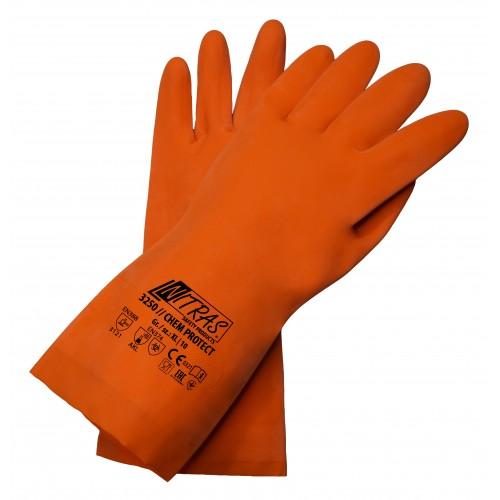 Γάντια προστασίας χημικών latex πορτοκαλί  CHEM PROTECT 3250