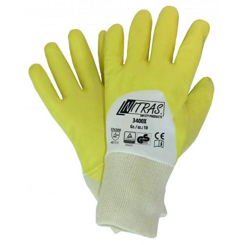 Γάντια νιτριλίου ενισχυμένα με επίστρωση 3/4 κίτρινη 3400Χ