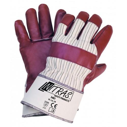 Γάντια νιτριλίου καμβάς χρώματος καφέ 3401