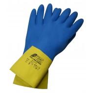 Γάντια προστασίας χημικών latex κίτρινα, νεοπρενίου μπλε DUAL BARRIER 3470