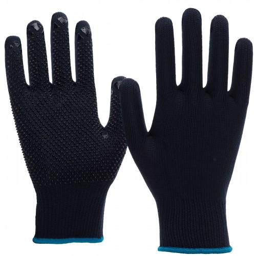 Γάντια πλεκτά nylon/cotton μπλε με κουκίδες PVC 6101