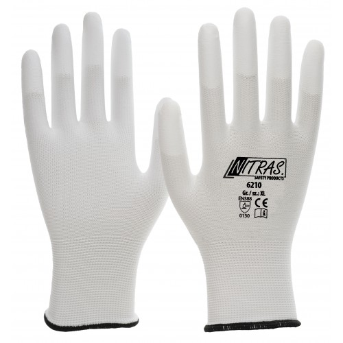 Γάντια ναυλον πλεκτή μανσέτα λευκά PU 6210