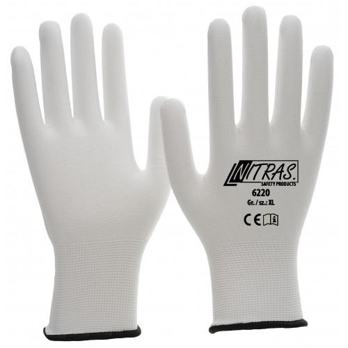 Γάντια nylon λευκά πλεκτή μανσέτα , 6220