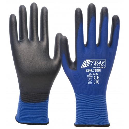 Γάντια nylon μπλε με επικάλυψη PU 18Gauge 6240 Skin