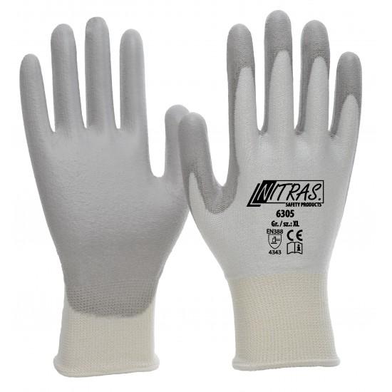 Γάντια προστασίας κοπής λευκά με επένδυση PU γκρι 6305