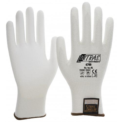 Γάντια προστασίας κοπής  TAEKI 5 λευκά με επικάλυψη PU 6700