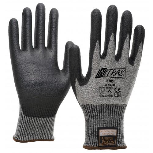 Γάντια προστασίας κοπής  TAEKI 5 λευκά με επικάλυψη PU μαύρη 6705