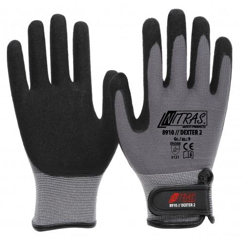 Γάντια μηχανικών γκρι με επένδυση λάτεξ 8910/DEXTER 2